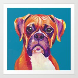Boxer Face Blue boxer dog breed funny dog animals pets Art Print
