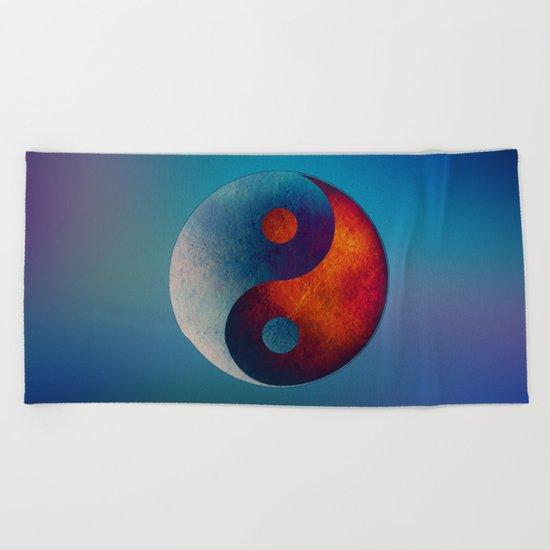 Yin Yang Symbol Beach Towel