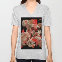 MACABRE BLOOD & SKULLS BLACK  ART Unisex V-Neck