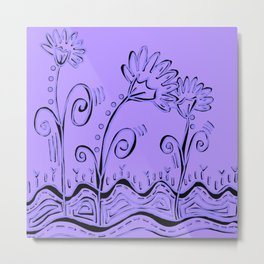 Three Spring Flowers in Lavender Metal Print