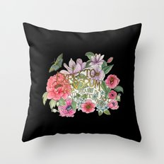Watercolour Botanical Floral Quote / Expecto Ignorum on black Throw Pillow
