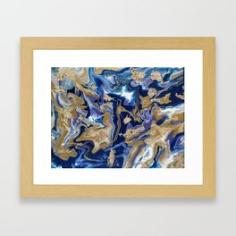 Blue and Gold Acrylic Framed Art Print