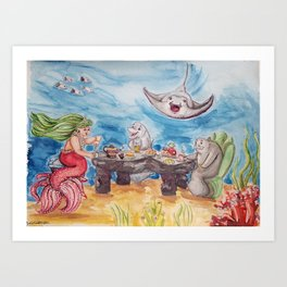 Mermaid Tea Party Art Print