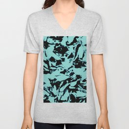 Turquoise Black Abstract Military Camouflage Unisex V-Neck