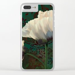 Poppies en Verdigris Clear iPhone Case