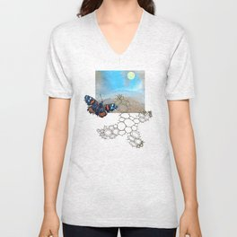 Last Flight of the Red Admiral Butterfly Unisex V-Neck