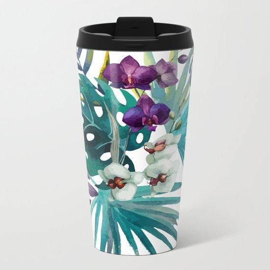 Tropical Floral Pattern 04 Metal Travel Mug