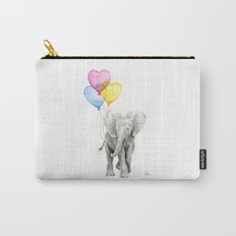 Elephant Watercolor with Balloons Rainbow Hearts Baby Whimsical Animal Nursery Prints Carry-All Pouch