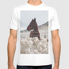 Snowy Horse Mens Fitted Tee MEDIUM White