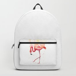 Pink Flamingo Watercolor Tropical Bird Backpack