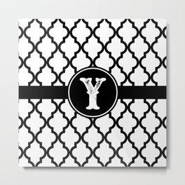 Black Monogram: Letter Y Metal Print