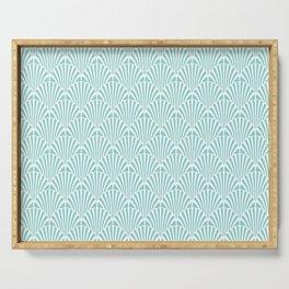 Retro Mint Green Art Deco Style Fan Pattern Serving Tray