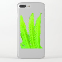 a green Fern Clear iPhone Case