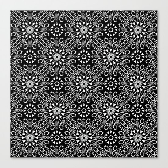 Oriental, ornament, black and white. Canvas Print