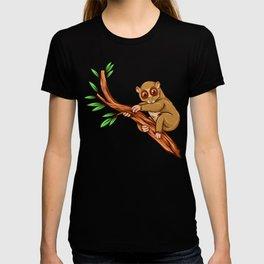 Slow Loris maki ape sitting on a leaf cartoon gift T-shirt