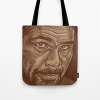 lucas david Tote Bags featuring round 11..david haye by noblackcolor