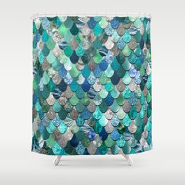 Mermaid Pattern, Sea,Teal, Mint, Aqua, Blue Shower Curtain