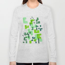 Colorful Green Minimalist Abstract Mid Century Modern Pattern Geometric Fun Art Long Sleeve T-shirt
