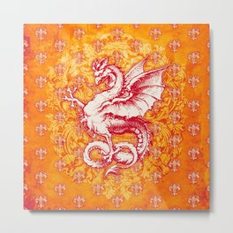 Noble House GINGER FIRE / Grungy heraldry design Metal Print