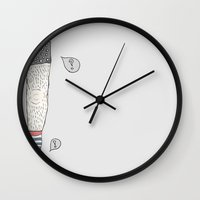 tom selleck Wall Clocks featuring Tom by Joao Velame