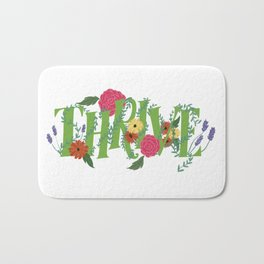 Floral Word Thrive in Midcentury Lettering Bath Mat