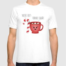 You're Hot! Thanks Sugar! Candy Cane & Hot Chocolate Couple White MEDIUM Mens Fitted Tee