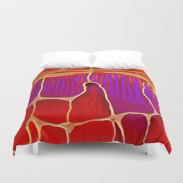 Distant Trees in Violet and Vermillion Duvet Cover
