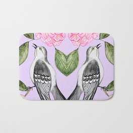 Mockingbird and camellia watercolor painting To Kill a Mockingbird Bath Mat