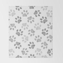 Black and grey paw print pattern Throw Blanket