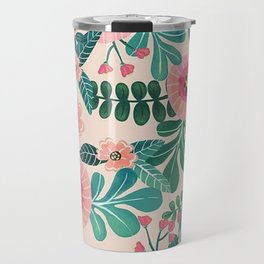 Colorful Tropical Vintage Flowers Abstract Travel Mug