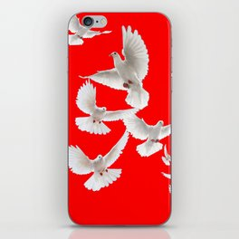FLOCK OF WHITE PEACE DOVES ON RED COLOR iPhone Skin