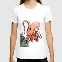 writer T-shirts featuring Octopus Writer by Zekis Art