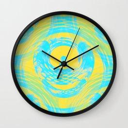 Abstract Aqua and Yellow Wall Clock