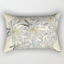 WHITE  NIGHT BLOOMING TROPICAL CEREUS  ON CREAM ART Rectangular Pillow