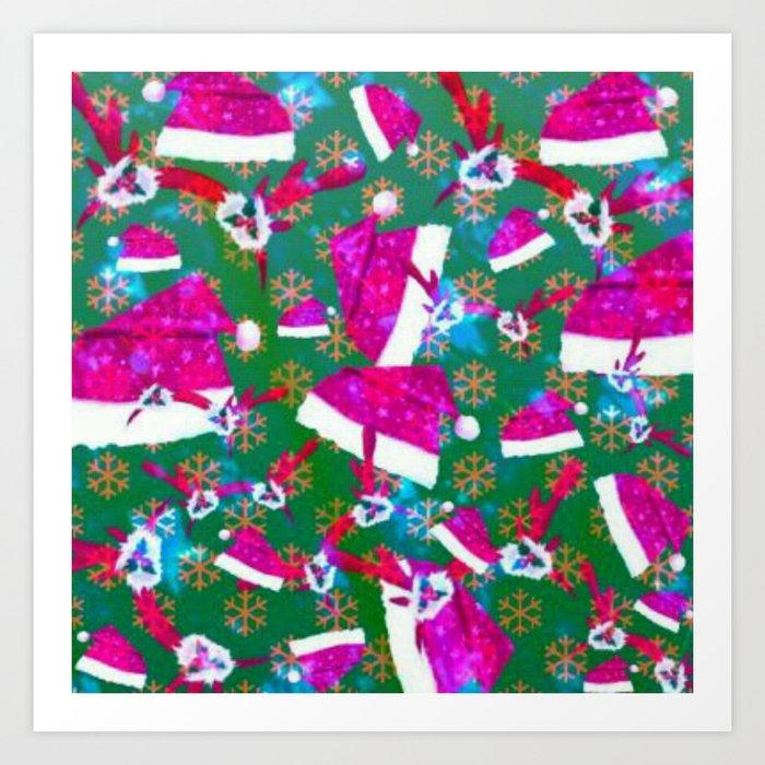 Santa hat, snow flakes and antlers original Art Print
