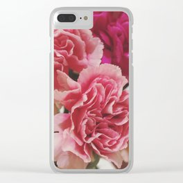 Soft Pink Carnations Clear iPhone Case