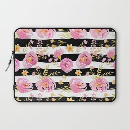 Delicate Poppy Pattern On Stripes 2 Laptop Sleeve