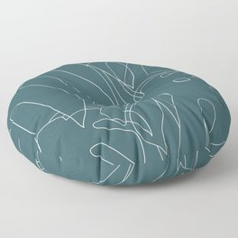 Monstera No2 Teal Floor Pillow