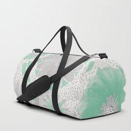 Mint & Silver Flowers Duffle Bag