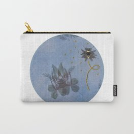 Embroidered Ghostly Bee With Anthotype Cicada Carry-All Pouch