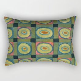 Strong Green Grid filled with Yellow Circles Rectangular Pillow