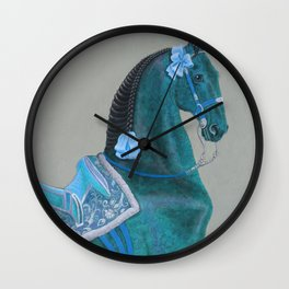 Blue Baroque Horse Wall Clock