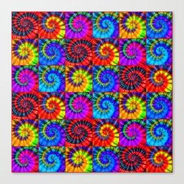 Spiral Tie Dye Checkerboard Canvas Print