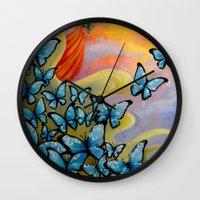 aurora Wall Clocks featuring Aurora by Amanda Shelton
