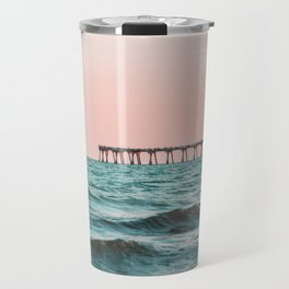 Beach Pier Sunrise Travel Mug