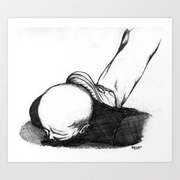 Homme En Noir Au Sol Art Print