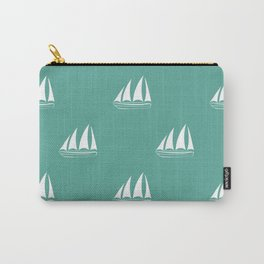 White Sailboat Pattern on green blue background Carry-All Pouch