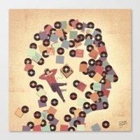 vinyl Canvas Prints featuring Vinyl by Davide Bonazzi