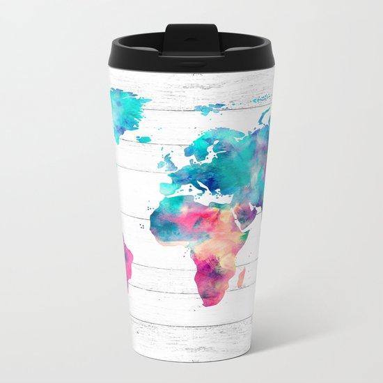 World Map Watercolor Paint on White Wood Metal Travel Mug