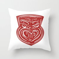 maori Throw Pillows featuring Maori Mask Etching by patrimonio